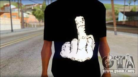 Black T-Shirt wBlack T-Shirt with middle finger para GTA San Andreas tercera pantalla