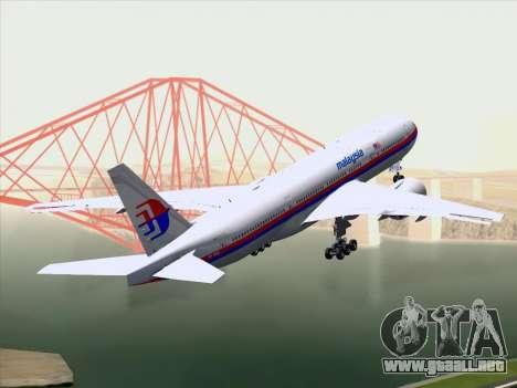Boeing 777-2H6ER Malaysia Airlines para GTA San Andreas vista hacia atrás