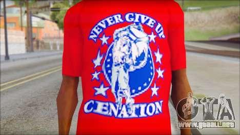 John Cena Red Attire T-Shirt para GTA San Andreas tercera pantalla