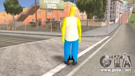Homer Simpson Skin para GTA San Andreas segunda pantalla