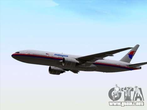 Boeing 777-2H6ER Malaysia Airlines para visión interna GTA San Andreas