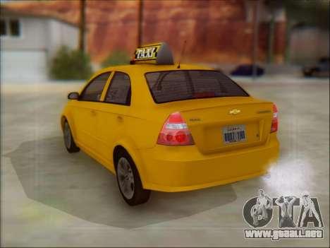 Chevrolet Aveo Taxi para GTA San Andreas vista hacia atrás