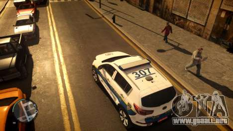 Kia Sportage Israel Police car (Mishtara) para GTA 4 Vista posterior izquierda