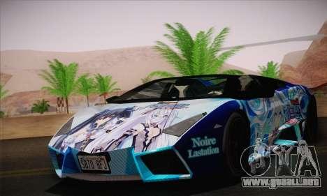 Lamborghini Reventon Black Heart Edition para GTA San Andreas vista posterior izquierda