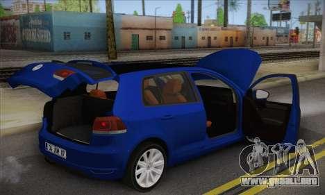 Volkswagen Golf Mk6 2010 para GTA San Andreas vista hacia atrás