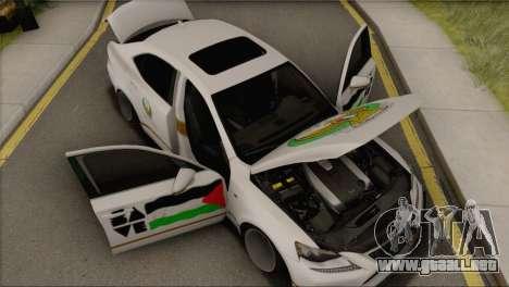 Lexus IS350 FSport 2014 Hellaflush para GTA San Andreas vista hacia atrás