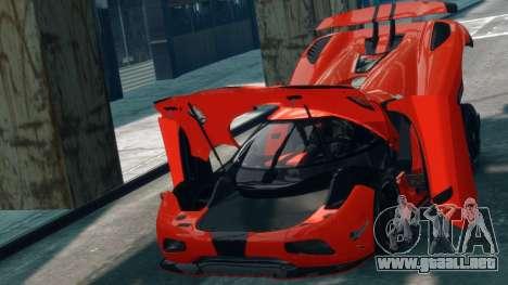 Koenigsegg Agera R 2013 para GTA 4 vista hacia atrás