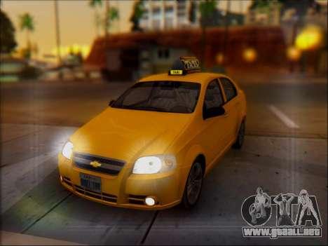 Chevrolet Aveo Taxi para vista inferior GTA San Andreas