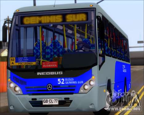 Neobus Spectrum City Mercedes Benz OF-1722 para GTA San Andreas vista hacia atrás