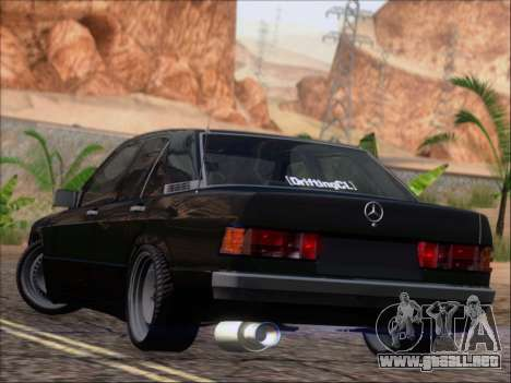 Mercedes Benz 190E Drift V8 para GTA San Andreas vista posterior izquierda