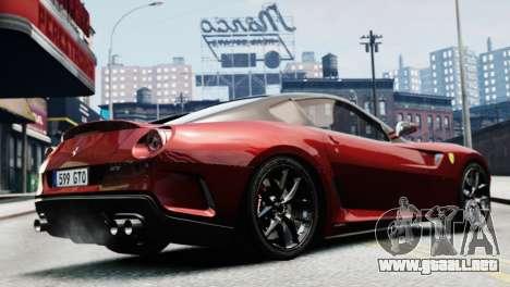Ferrari 599 GTO para GTA 4 Vista posterior izquierda