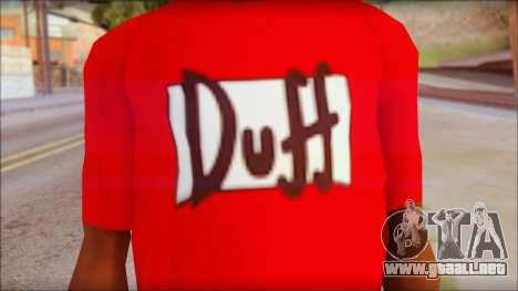 Duff T-Shirt para GTA San Andreas tercera pantalla