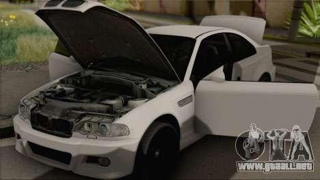 BMW M3 E46 Black Edition para GTA San Andreas vista posterior izquierda