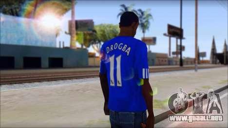 Chelsea F.C Drogba 11 T-Shirt para GTA San Andreas segunda pantalla