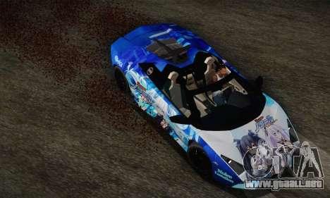 Lamborghini Reventon Black Heart Edition para GTA San Andreas vista hacia atrás
