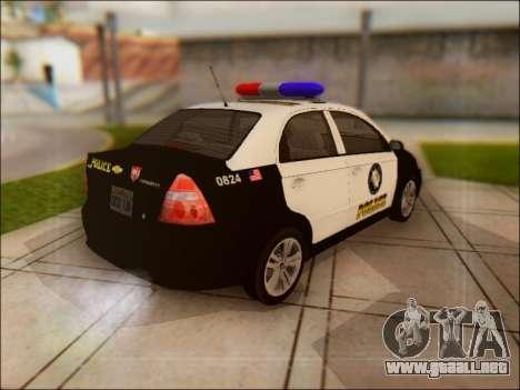 Chevrolet Aveo Police para GTA San Andreas vista hacia atrás
