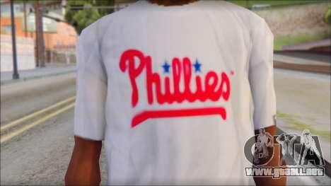 Phillies T-Shirt para GTA San Andreas tercera pantalla