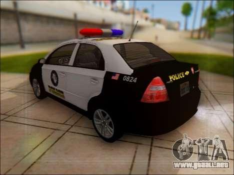 Chevrolet Aveo Police para GTA San Andreas vista posterior izquierda