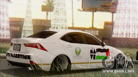 Lexus IS350 FSport 2014 Hellaflush para GTA San Andreas vista posterior izquierda
