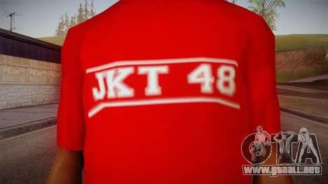 JKT48 Hardcore T-Shirt para GTA San Andreas tercera pantalla
