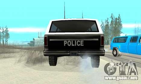 New Police Ranger para GTA San Andreas vista posterior izquierda