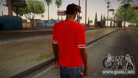 Liverpool FC 13-14 Kit T-Shirt para GTA San Andreas segunda pantalla