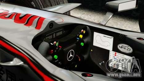 McLaren MP4-23 F1 Driving Style Anim para GTA 4 Vista posterior izquierda