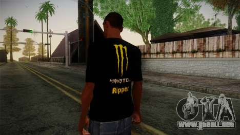 Monster Ripper Shirt Black para GTA San Andreas segunda pantalla