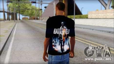 Battlefield 3 Fan Shirt para GTA San Andreas segunda pantalla