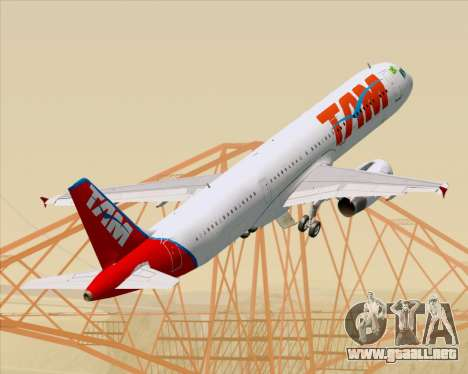 Airbus A321-200 TAM Airlines para las ruedas de GTA San Andreas
