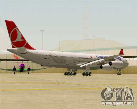 Airbus A340-313 Turkish Airlines para GTA San Andreas vista posterior izquierda