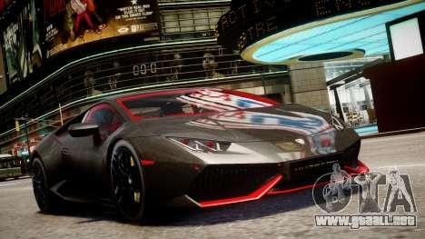 Lamborghini Huracan LP610-4 SuperTrofeo para GTA 4 Vista posterior izquierda