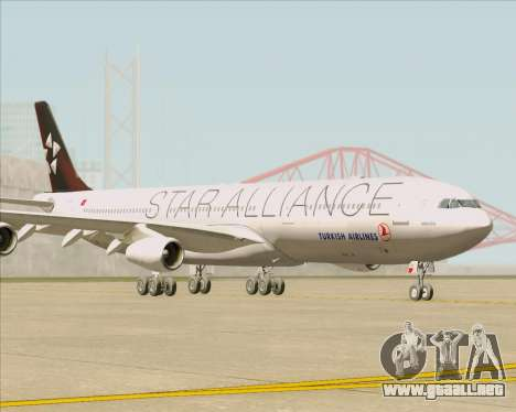 Airbus A340-311 Turkish Airlines (Star Alliance) para GTA San Andreas left
