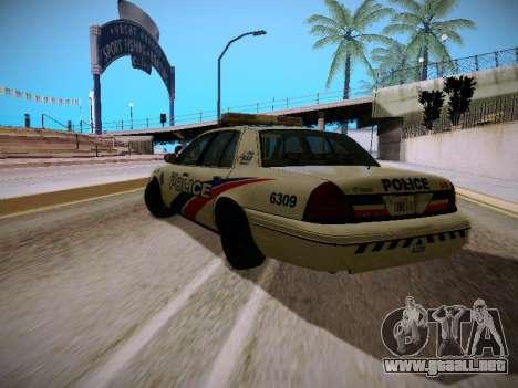 Ford Crown Victoria Toronto Police Service para GTA San Andreas vista posterior izquierda