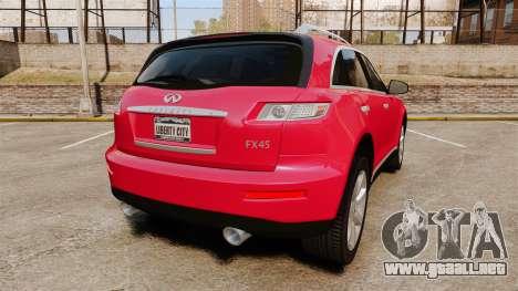 Infiniti FX 45 2008 LP para GTA 4 Vista posterior izquierda