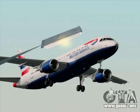 Airbus A320-232 British Airways para GTA San Andreas vista hacia atrás