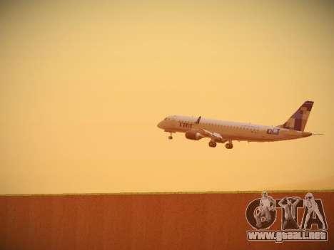 Embraer E190 TRIP Linhas Aereas Brasileira para GTA San Andreas vista hacia atrás