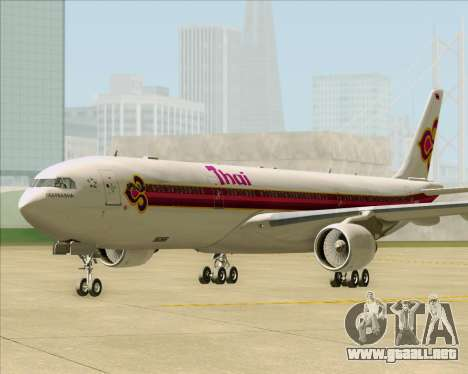 Airbus A330-300 Thai Airways International para GTA San Andreas vista posterior izquierda