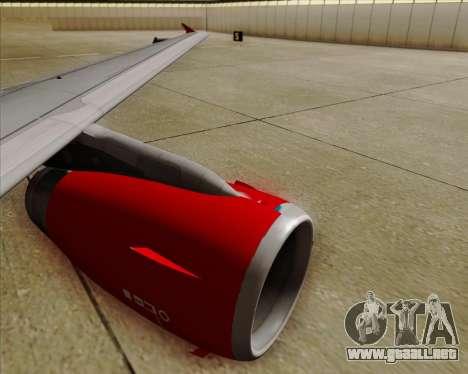 Airbus A319 Air Canada Rouge para vista inferior GTA San Andreas