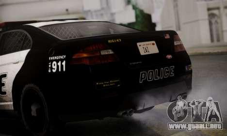 Vapid Police Interceptor from GTA V para GTA San Andreas vista hacia atrás