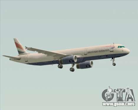 Airbus A321-200 British Airways para la vista superior GTA San Andreas