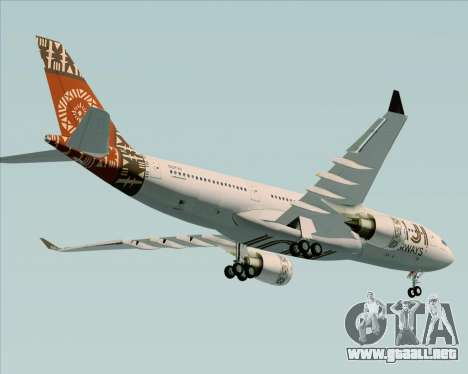 Airbus A330-200 Fiji Airways para la vista superior GTA San Andreas