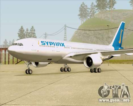 Airbus A330-200 Syphax Airlines para GTA San Andreas vista posterior izquierda