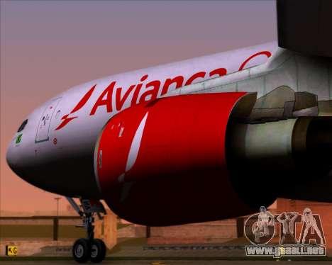 Airbus A330-243F Avianca Cargo para GTA San Andreas vista hacia atrás