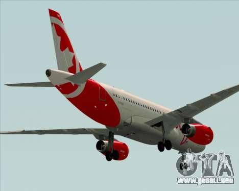 Airbus A319 Air Canada Rouge para la visión correcta GTA San Andreas