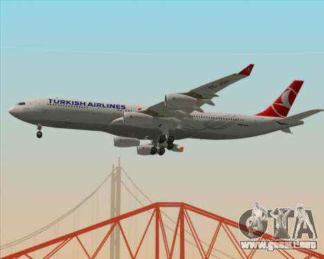 Airbus A340-313 Turkish Airlines para visión interna GTA San Andreas