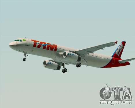 Airbus A321-200 TAM Airlines para GTA San Andreas vista hacia atrás