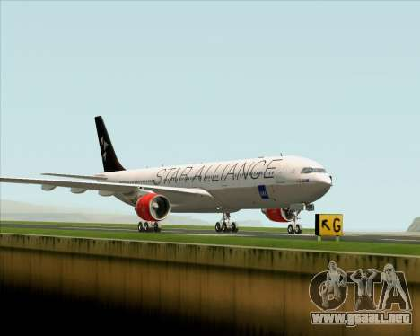 Airbus A330-300 SAS (Star Alliance Livery) para GTA San Andreas vista posterior izquierda