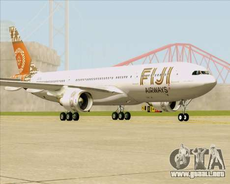 Airbus A330-200 Fiji Airways para GTA San Andreas vista posterior izquierda