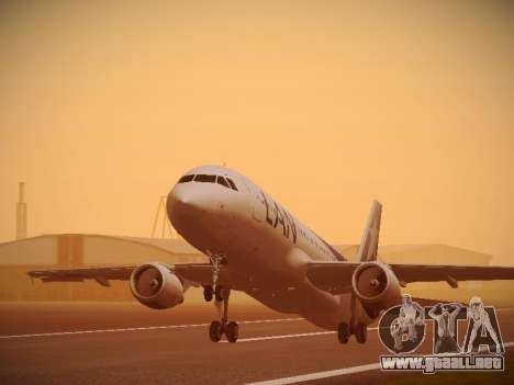 Airbus A320-214 LAN Airlines 100th Plane para GTA San Andreas vista hacia atrás